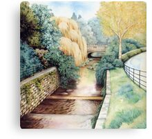 Water Steps, Roath Park, Cardiff. Canvas Print
