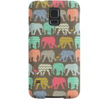 baby elephants and flamingos dark linen Samsung Galaxy Case/Skin