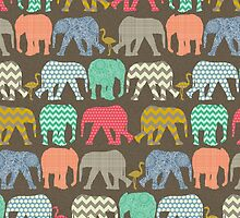baby elephants and flamingos dark linen by Sharon Turner