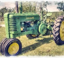 John Deere Vintage Tractor Watercolor by Edward Fielding