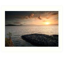 Queen Mary 2 Sunset Art Print