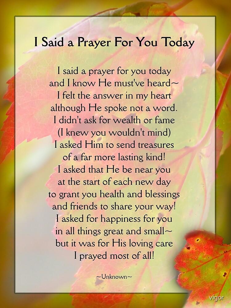 I Said a Prayer For You Today - Inspirational by vigor