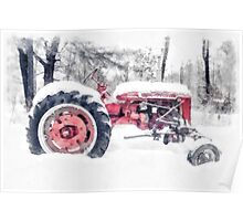 Old Farmall Tractor in Winter Poster