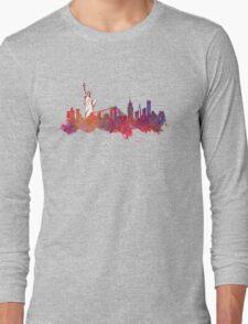 New York city Skyline red Long Sleeve T-Shirt