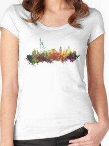 Colored New York City skyline Women's Fitted Scoop T-Shirt