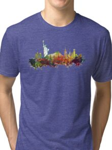 Colored New York City skyline Tri-blend T-Shirt