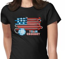Team crochet USA flag patriotic crochet hooks Womens Fitted T-Shirt