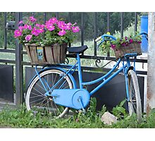 The blue bike with flowers Photographic Print