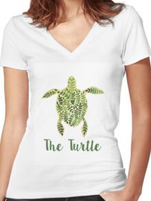 Patterned floral watercolor turtle illustration Women's Fitted V-Neck T-Shirt