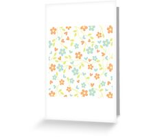 Cute blue orange abstract floral pattern Greeting Card