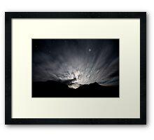 Moon Stream - Startrails version Framed Print