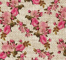 Vintage white jute girly pink floral pattern by Maria Fernandes