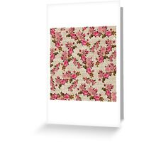Vintage white jute girly pink floral pattern Greeting Card