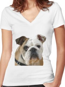 American Bulldog Background Removed Women's Fitted V-Neck T-Shirt