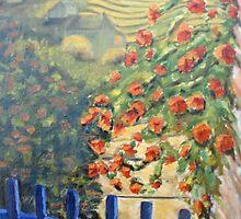 le portail bleu au jardin by Phyllis Dixon
