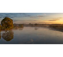 Autumn rural sunrise with tree and river Photographic Print