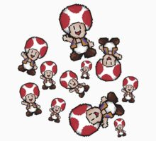 mario pixel toad pattern Kids Clothes