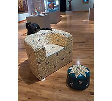Patio Chair with Black Cat Photographic Print