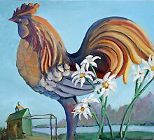 Rooster with Coop by Phyllis Dixon