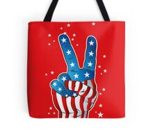 American Patriotic Victory Peace Hand Fingers Sign Tote Bag