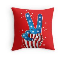 American Patriotic Victory Peace Hand Fingers Sign Throw Pillow