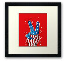 American Patriotic Victory Peace Hand Fingers Sign Framed Print