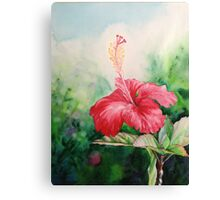 """Aloha"" Tropical Red Hibiscus Hawaiian Flower Painting by Christie Marie Elder Canvas Print"