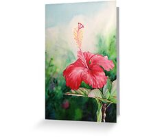 """Aloha"" Tropical Red Hibiscus Hawaiian Flower Painting by Christie Marie Elder Greeting Card"
