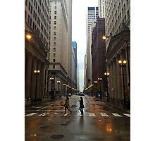 Walking in Chicago Rain Photographic Print