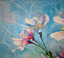 """""""Spring Air"""" Cherry Blossom Watercolor Painting by Christie Marie Elder by Christie Elder"""