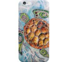 """Honu Island Waters"" Tropical Tribal Sea Turtle Painting by Christie Marie Elder iPhone Case/Skin"
