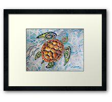 """""""Honu Island Waters"""" Tropical Tribal Sea Turtle Painting by Christie Marie Elder Framed Print"""
