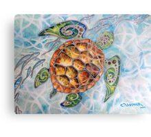 """Honu Island Waters"" Tropical Tribal Sea Turtle Painting by Christie Marie Elder Metal Print"