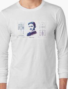 Nikola Tesla Patent Art Electric Arc Lamp Long Sleeve T-Shirt