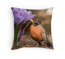 Robin in the spring flowers Throw Pillow
