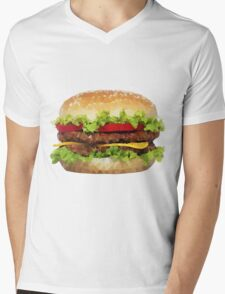 Triangular HAMBURGER Mens V-Neck T-Shirt