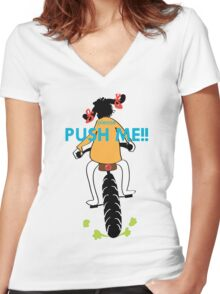 Please Push Me!! Women's Fitted V-Neck T-Shirt
