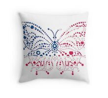 American Patriotic Dots Butterfly Flag  Throw Pillow