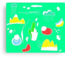 Green Cactus Mountain Canvas Print