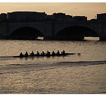 Sculling at Dusk Photographic Print