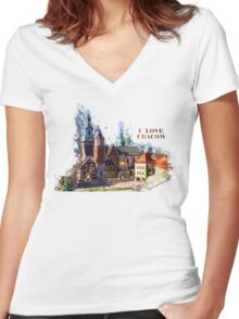 I love Cracow Wawel Castel Women's Fitted V-Neck T-Shirt