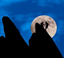 Mountain Climbers Highlighted by the Moon by Buckwhite