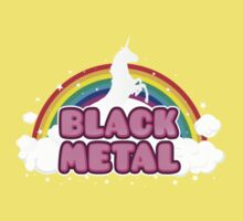 BLACK METAL! (Funny Unicorn / Rainbow Mosh Parody Design) Kids Tee