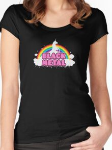 BLACK METAL! (Funny Unicorn / Rainbow Mosh Parody Design) Women's Fitted Scoop T-Shirt