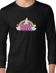 BLACK METAL! (Funny Unicorn / Rainbow Mosh Parody Design) Long Sleeve T-Shirt