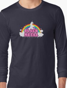 BLACK METAL! (Funny Unicorn / Rainbow Mosh Parody Design) Long Sleeve T-Shirt