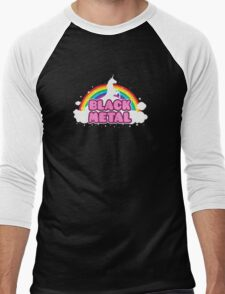 BLACK METAL! (Funny Unicorn / Rainbow Mosh Parody Design) Men's Baseball ¾ T-Shirt