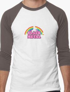 BLACK METAL! (Funny Unicorn / Rainbow Mosh Parody Design) Men's Baseball ¾ T-Shirt