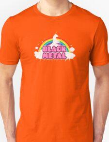 BLACK METAL! (Funny Unicorn / Rainbow Mosh Parody Design) T-Shirt