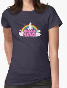 BLACK METAL! (Funny Unicorn / Rainbow Mosh Parody Design) Womens Fitted T-Shirt